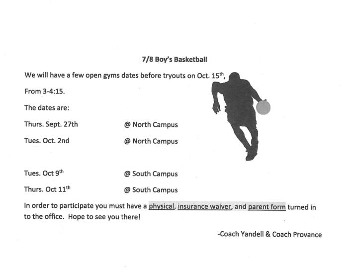 Boys Basketball Open Gyms/Tryouts