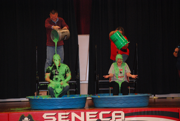 This is an image of the principals being slimed.
