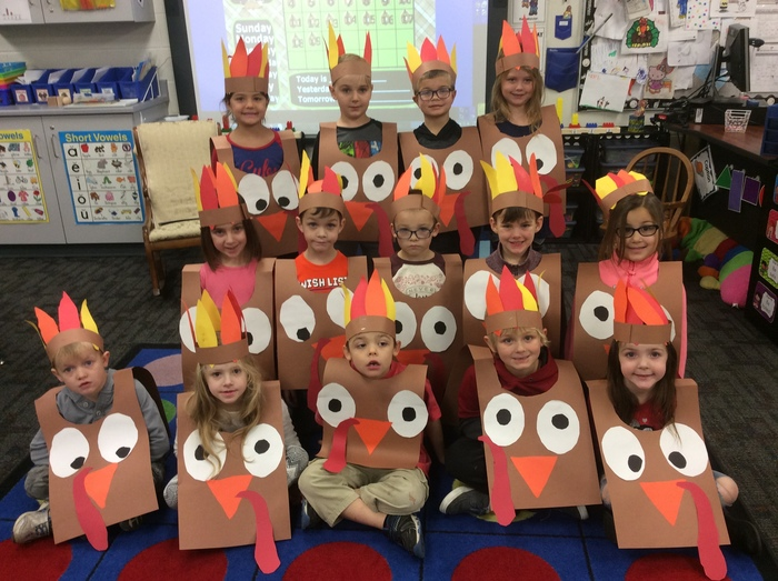 Kindergarten Students Dresses as Turkeys