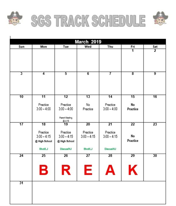March Track Schedule