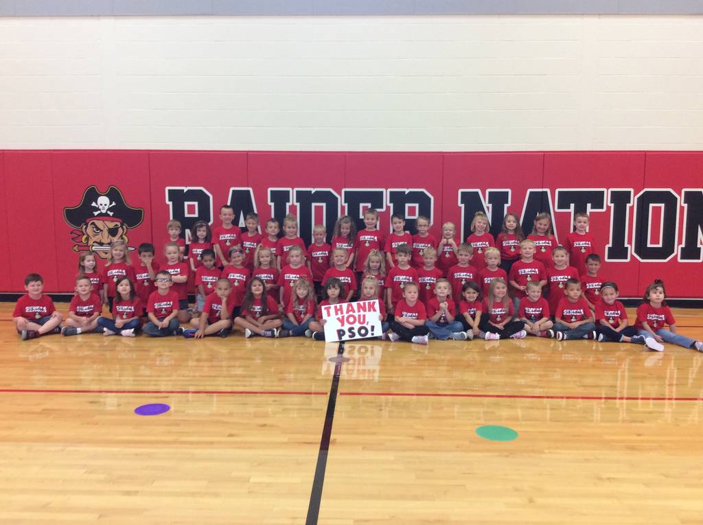 Thank you to the PSO from the entire kindergarten class for the Seneca Raiders shirts. We all looked great for red day today.